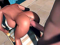 Hot Brunette Anime Babe Taking Humongous Hose