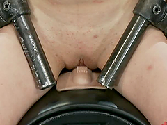 Chained Redhead Getting Fucked By a Machine