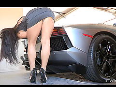Horny Brunette Playing With Her New Car