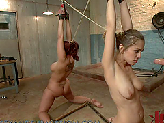 Brunette and Redhead in a Hot BDSM Scene