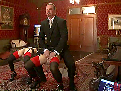 Butler Makes Two Submissive Girls Play..