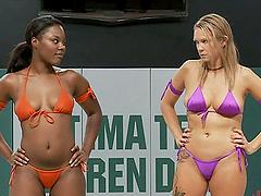 Blonde Babe and Ebony Beauty Wrestle..