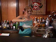 Bosomy barmaid gets her pussy hotly..