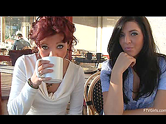 Two lesbian babes having lunch and..