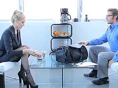 Hot blonde in office clothes gets..