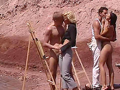 Group Sex Outdoors Action With Hot..