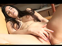 Toy Masturbation by a Busty Brunette Teen in Solo Girl Video
