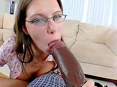 Hot interracial banging between big black cock and pale-looking girl