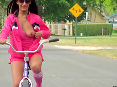 Adriana Milano Riding Bike Naked and..