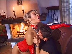 Red latex babe loves anal fucking and..