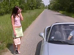 Hot Brunette Teen Fucking Outdoors In..