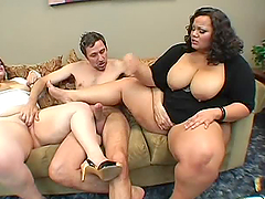 Cum Swapping BBW Queens Fuck a Guy In..
