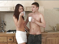 Rough Sex In The Kitchen With A Hot Teen