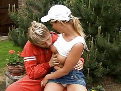 Naughty Blonde Teen Seduces Gardener..