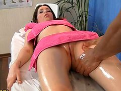 Exotic Brunette Babe Gets a Full Oily..