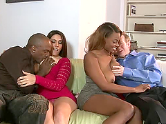Amazing interracial group sex in the living room