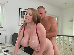Big Breasted Boss Titty Fucks in the..
