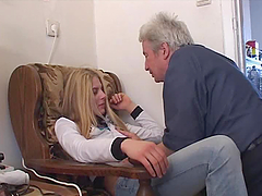 A beautiful blonde babe gives a..